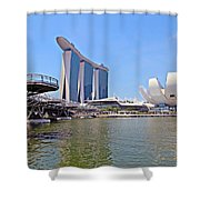 Singapore Artscience Museum Double Helix Bridge And Marina Bay  Shower Curtain