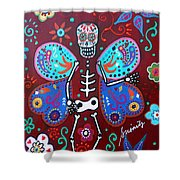 Skellyfly Day Of The Dead Shower Curtain