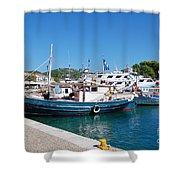 Skiathos Town Harbour Shower Curtain