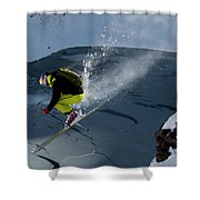 Skier Jumping On A Sunny Day Shower Curtain