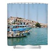 Skopelos Harbour Greece Shower Curtain