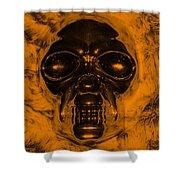 Skull In Orange Shower Curtain