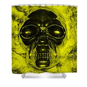 Skull In Yellow Shower Curtain