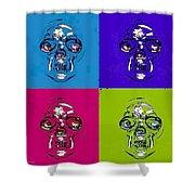 Skulls In Quad Colors Shower Curtain
