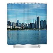 Skylines At The Waterfront, Lake Shower Curtain