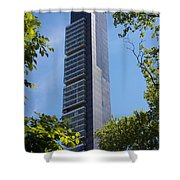 Skyscraper Rising Among Trees Of Madison Square Park Shower Curtain