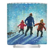 Sledding With Dad Shower Curtain