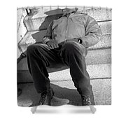 Sleeping On Steps Shower Curtain