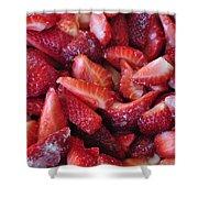Sliced Strawberries Shower Curtain