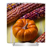 Small Pumpkin And Indian Corn Shower Curtain