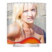 Smiling Female Guitarist Shower Curtain