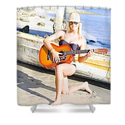 Smiling Girl Strumming Guitar At Tropical Beach Shower Curtain