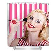 Smiling Makeup Girl Using Cosmetic Powder Brush Shower Curtain