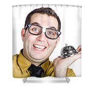 Smiling Man With Bell Shower Curtain