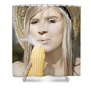 Smoking Hot Corn Cob Woman Shower Curtain