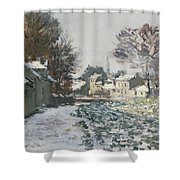 Snow At Argenteuil Shower Curtain by Claude Monet