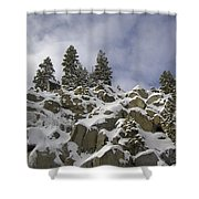Snow Covered Cliffs And Trees Shower Curtain