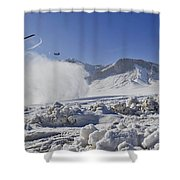 Snow Flies Up As A U.s. Army Ch-47 Shower Curtain