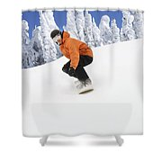 Snowboarder Going Down Snowy Hill Shower Curtain