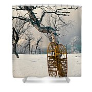 Snowshoes Leaning Against Birch Tree Snowscape Shower Curtain