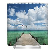 Sok San Pier On Long Beach In Koh Rong Island Cambodia Shower Curtain