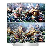 Something Fowl Afloat Redux Shower Curtain