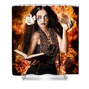 Sorcerer Casting Black Magic Spells Of Fire Shower Curtain