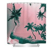South Beach Miami Tropical Art Deco Wide Palms Shower Curtain