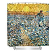 Sower Shower Curtain by Vincent van Gogh