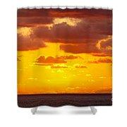 Spectacular Dramatic Orange Sunset Over The Ocean Shower Curtain