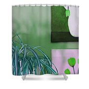 Spider Plant - Green Tulips - Still Life Shower Curtain