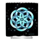 Spirit Of Water 1 - Blue With Water Drops Shower Curtain