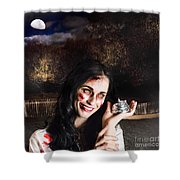 Spooky Girl With Silver Service Bell In Graveyard Shower Curtain