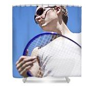 Sporting A Racquet Shower Curtain