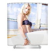 Sports Person Carrying Surf Board Outdoors Shower Curtain