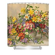 Spring Flowers And Poole Pottery Shower Curtain