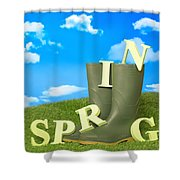 Spring Wellies Shower Curtain