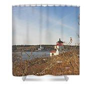 Squirrel Point Lighthouse Kennebec River Maine Shower Curtain