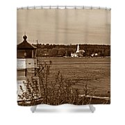 Squirrel Point Lighthouse Shower Curtain by Skip Willits
