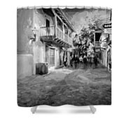St George Street St Augustine Florida Painted Bw Shower Curtain