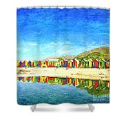 St James Beach Huts South Africa Shower Curtain