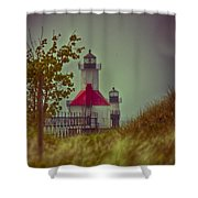 St. Joseph North Pier Lighthouse Lake Michigan. Shower Curtain