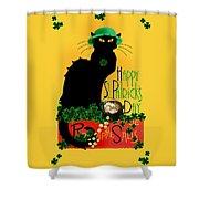 St Patrick's Day - Le Chat Noir Shower Curtain