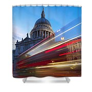 St. Pauls Cathedral And Light Trails Shower Curtain by Mark Thomas