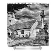 St Sannans Church Bedwellty 2 Mono Shower Curtain