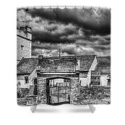 St Sannans Church Bedwellty Mono Shower Curtain