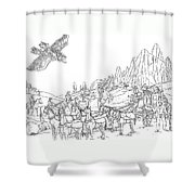 Stagecoach Robbery Shower Curtain