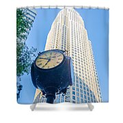 Standing By The Clock On City Intersection At Charlotte Downtown Shower Curtain