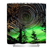Star Trails And Northern Lights In Sky Over Taiga Shower Curtain