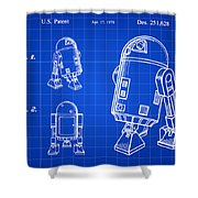 Star Wars R2-d2 Patent 1979 - Blue Shower Curtain